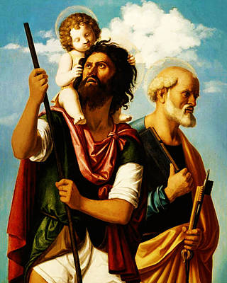 Saint Christopher Painting - Saint Christopher With Saint Peter by Bill Cannon