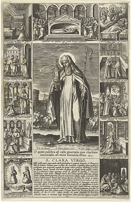 Saint Clare, Adriaen Collaert, Theodoor Galle Print by Adriaen Collaert And Theodoor Galle