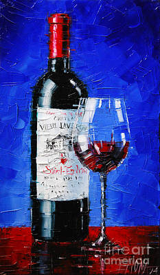 Cafes Painting - Still Life With Wine Bottle And Glass II by Mona Edulesco