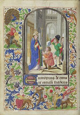 Cripple Painting - Saint Eutrope Healing A Cripple Lieven Van Lathem, Flemish by Litz Collection
