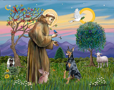 Saint Francis And Doberman Pinscher Art Print