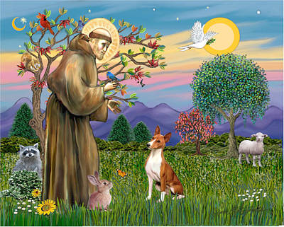 Art Print featuring the digital art Saint Francis Blesses A Basenji by Jean Fitzgerald