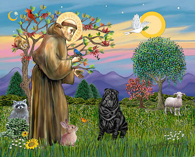 Digital Art - Saint Francis Blesses A Black Chinese Shar Pei by Jean B Fitzgerald