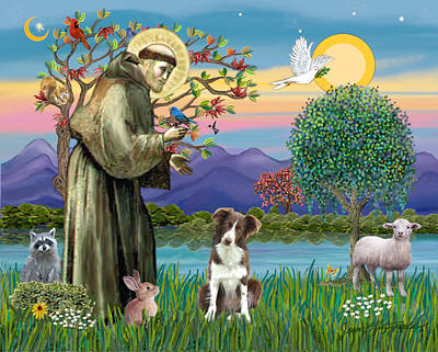 Digital Art - Saint Francis Blesses A Brown And White Border Collie by Jean B Fitzgerald