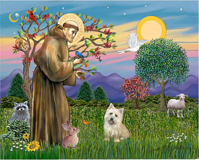 Digital Art - Saint Francis Blesses A Cairn Terrier by Jean B Fitzgerald