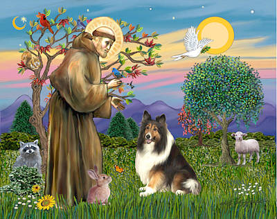 Saint Francis Blesses A Sable And White Collie Art Print