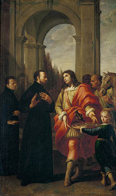 Refuse Painting - Saint Gaetano Refuses Offerings From Count Antonio Caracciolo D Oppido by Andrea Vaccaro