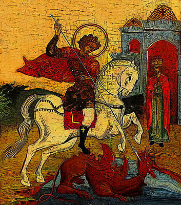 Russian Icon Digital Art - Saint George And The Dragon by Estefan Gargost