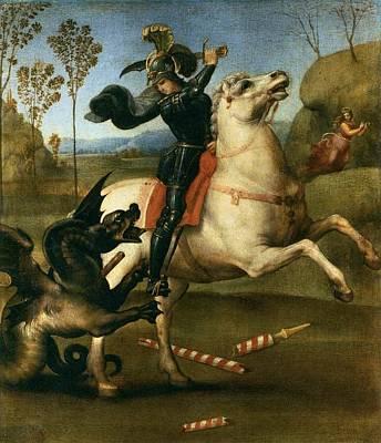 Raffaello Santi Painting - Saint George Struggling With The Dragon by Raphael