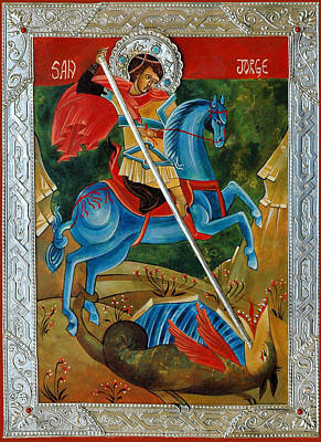 Art-print Wall Art - Painting - Saint George The Dragon  by Mary jane Miller