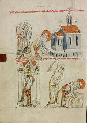 Saint Hedwig Leaving Bloody Footprints In The Snow Art Print
