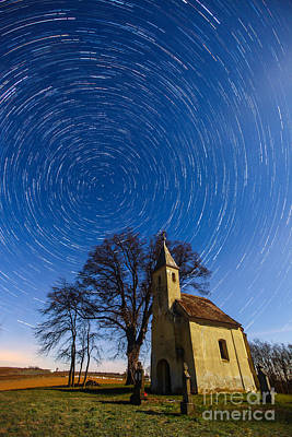 Photograph - Saint Heleina Chapel With Star Trail Hungary by Gabor Pozsgai
