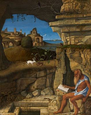 1505 Painting - Saint Jerome Reading by Giovanni Bellini