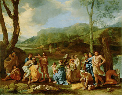 Baptizing Painting - Saint John Baptizing In The River Jordan Nicolas Poussin by Litz Collection