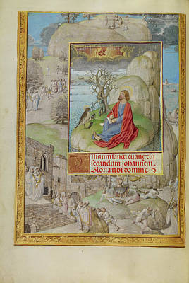 Bible Drawing - Saint John On Patmos Master Of The Lübeck Bible Bruges by Litz Collection