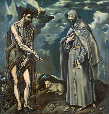 Catholic For Sale Painting - Saint John The Baptist And Saint Francis Of Assisi by Workshop of El Greco