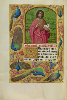 Prayer Drawing - Saint John The Baptist With The Lamb Of God On A Book by Litz Collection