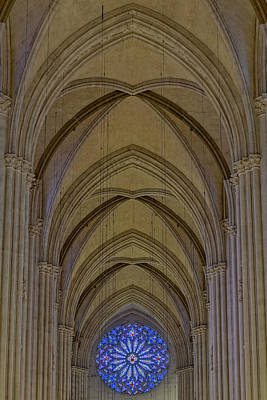 Altar Photograph - Saint John The Divine Cathedral Arches And Rose Window by Susan Candelario