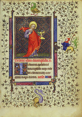 1420 Painting - Saint John The Evangelist Follower Of The Egerton Master by Litz Collection