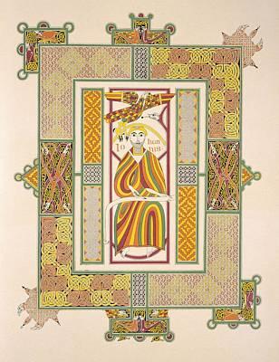 Celtic Knot Painting - Saint John The Evangelist by Irish School