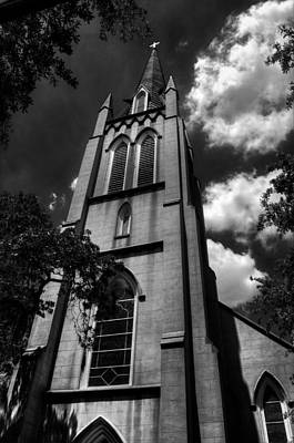Photograph - Saint Johns Episcopal Church Savannah Georgia In Black And White by Greg and Chrystal Mimbs