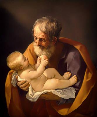 Saint Joseph And The Christ Child Art Print by Mountain Dreams