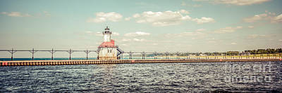 Saint Joseph Lighthouse Retro Panorama Photo Print by Paul Velgos