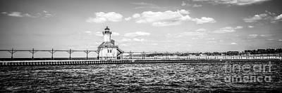 Lake House Photograph - Saint Joseph Lighthouse Retro Panoramic Photo by Paul Velgos