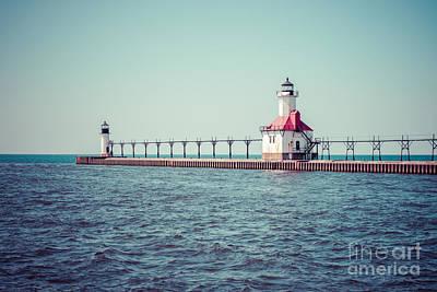 Saint Joseph Michigan Lighthouse Retro Picture  Print by Paul Velgos