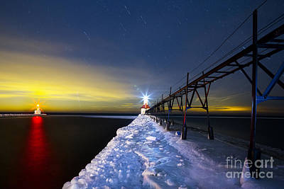 Snowy Night Photograph - Saint Joseph Pier At Night by Twenty Two North Photography