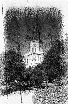 New Orleans Saints Drawings Photograph - Saint Louis Cathedral by Greg and Chrystal Mimbs