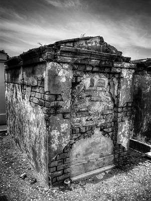 Photograph - Saint Louis Cemetery No. 1 Brick Grave In Black And White by Chrystal Mimbs