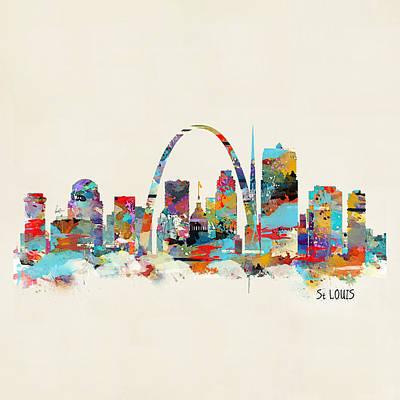 Saint Louis Painting - Saint Louis Missouri Skyline by Bleu Bri