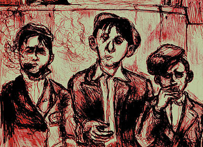 Saint Louis Mixed Media - Saint Louis Newsboys On Washington 1910 by Will  Carlson