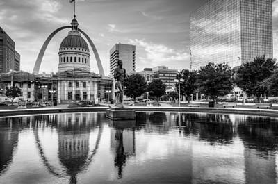 St. Louis Photograph - Saint Louis Reflections - Black And White by Gregory Ballos