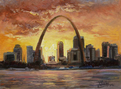 Sunset Painting - Saint Louis Riverfront - Sunset by Irek Szelag