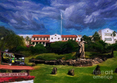 Oahu Mixed Media - Saint Louis School by Patrick J Gallagher