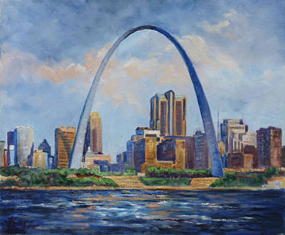 Saint Louis Painting - Saint Louis Skyline 2 by Irek Szelag