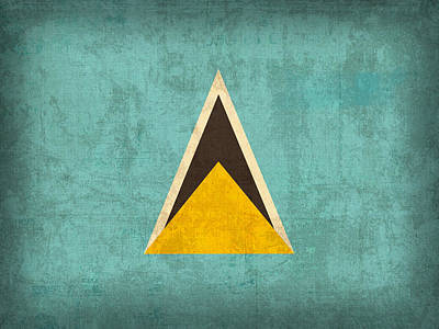 Flag Mixed Media - Saint Lucia Flag Vintage Distressed Finish by Design Turnpike