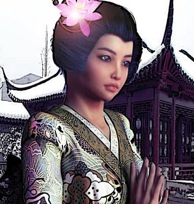Saint Lucy Yi Zhenmei   Lotus Of China Art Print by Suzanne Silvir