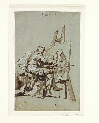 Anton Drawing - Saint Luke Painting The Virgin by Georg Anton Urlaub