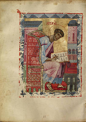 Byzantine Empire Drawing - Saint Luke Unknown Byzantine Empire Early 13th Century - by Litz Collection