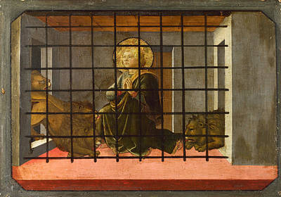 Prison Painting - Saint Mamas In Prison Thrown To The Lions by Fra Filippo Lippi and Workshop