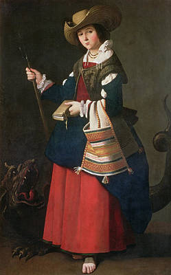 Saint Margaret Of Antioch, 1630-34 Oil On Canvas Art Print by Francisco de Zurbaran