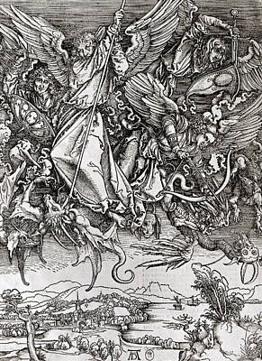Overcoming Drawing - Saint Michael And The Dragon by Albrecht Durer or Duerer