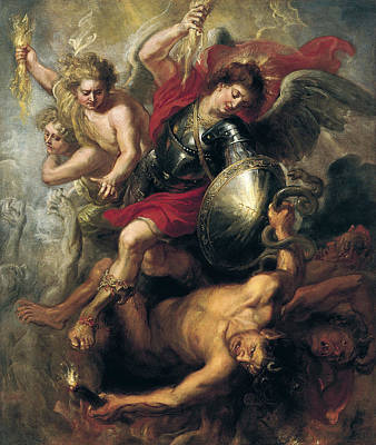 Saint Michael Expelling Lucifer And The Rebellious Angels Art Print by Workshop of Rubens