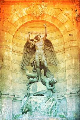 Antique Look Photograph - Saint Michael Fountain Old World by Carol Groenen