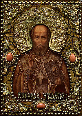 Russian Icon Mixed Media - St Nicholas Archbishop Of Myra In Lycia Miracle Worker by Michael Razdolsky