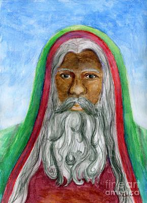 Saint Nicholas Black Old World Santa  Art Print