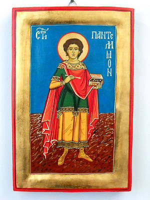 Greek Icon Painting - Saint Panteleimon Doctor Without Silver For Those Who Had No Money by Denise ClemencoIcons